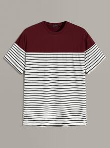 Men Two Tone Striped Top