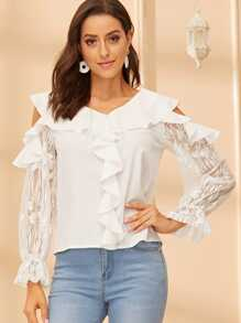 Ruffle Cold Shoulder Lace Sleeve Top