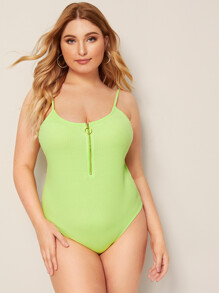 Plus Neon Lime O-ring Half Zipper Rib-knit Slip Bodysuit