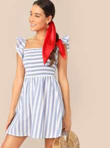 Ruffle Armhole Shirred Bodice Striped Dress
