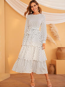 Lantern Sleeve Belted Tiered Layer Polka Dot Dress