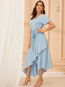 Rolled Cuff Self Belted Dress With Wrap Skirt