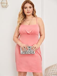 Plus Ruched High Waist Solid Cami Dress