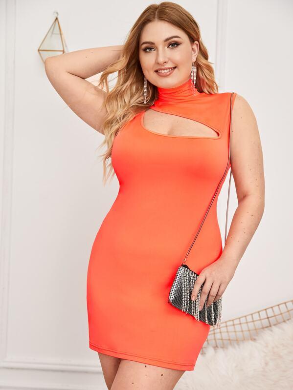 Plus Neon Orange Cut Out Bodycon Dress