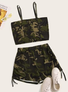 Plus Drawstring Hem Camo Print Cami Top With Shorts