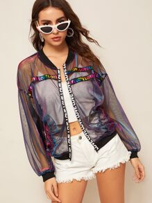 Letter Tape Metallic Mesh Jacket