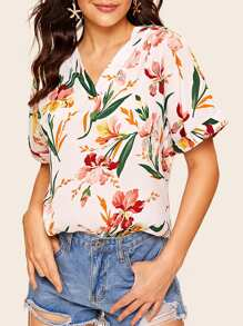 V-neck Floral Print Rolled Cuff Blouse