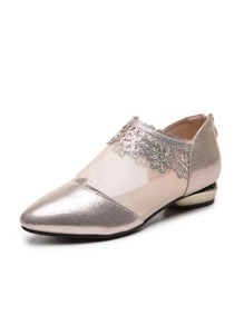 Point Toe Mesh Panel Metallic Flats