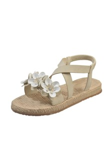 Open Toe Floral Applique Sandals