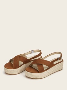 Cross Strap Slingback Suede Sandals