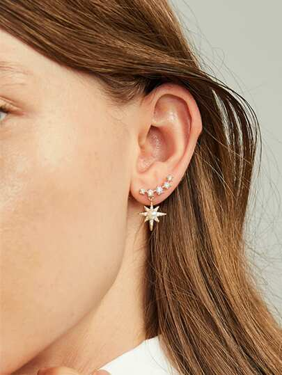 Faux Pearl Engraved Star Drop Earrings 1pair