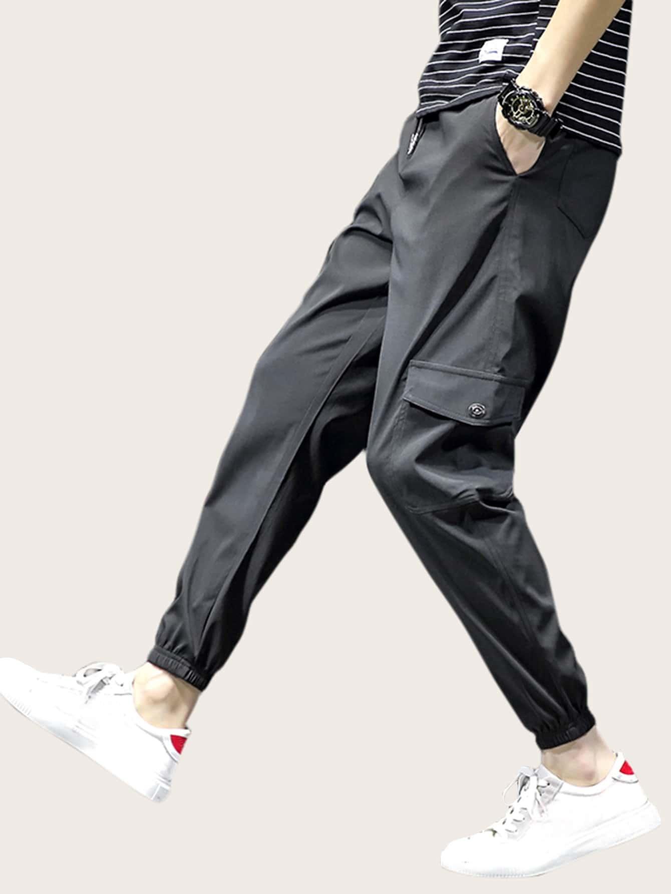 Pantalones Cargo De Hombres De Cintura Con Cordon Con Bolsillo Moda De Mujer Shein Mexico