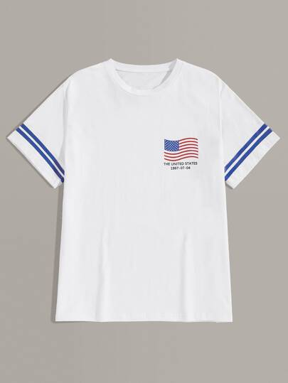 Men Letter And Flag Print Tee