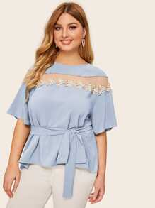 Plus Mesh Insert Appliques Belted Top