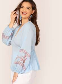 Plus Embroidered Lantern Sleeve Smock Top