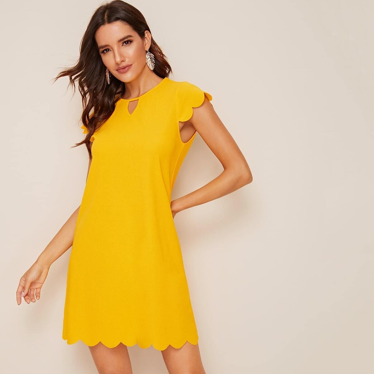 SHEIN coupon: Keyhole Neck Scallop Edge Tunic Dress