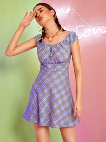 Button Front High Waist Plaid Flare Dress