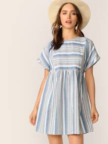 Rolled Cuff Pocket Side Striped Smock Dress