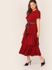 Plus Layered Ruffle Hem Letter Belted Dress