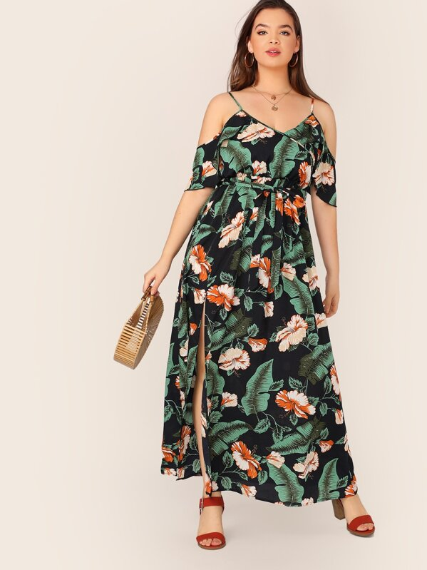 Plus Cold Shoulder Split Thigh Wrap Belted Tropical Dress