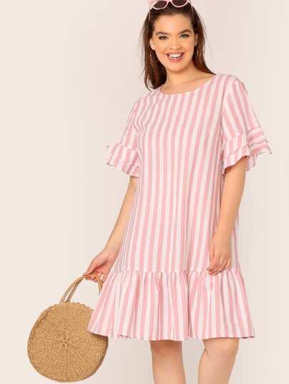 55347877ac Plus Ruffle Trim Drop Waist Striped Dress