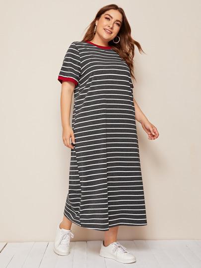 a622044c7 فستان مقاس كبير جرسي مخطط وبأكمام قصير