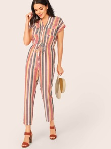 Flap Pocket Front Drawstring Waist Striped Shirt Jumpsuit