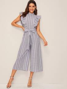 Striped Ruffle Armhole Belted Palazzo Jumpsuit