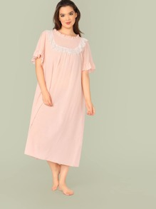 Plus Ruffle Trim Contrast Lace Nightdress
