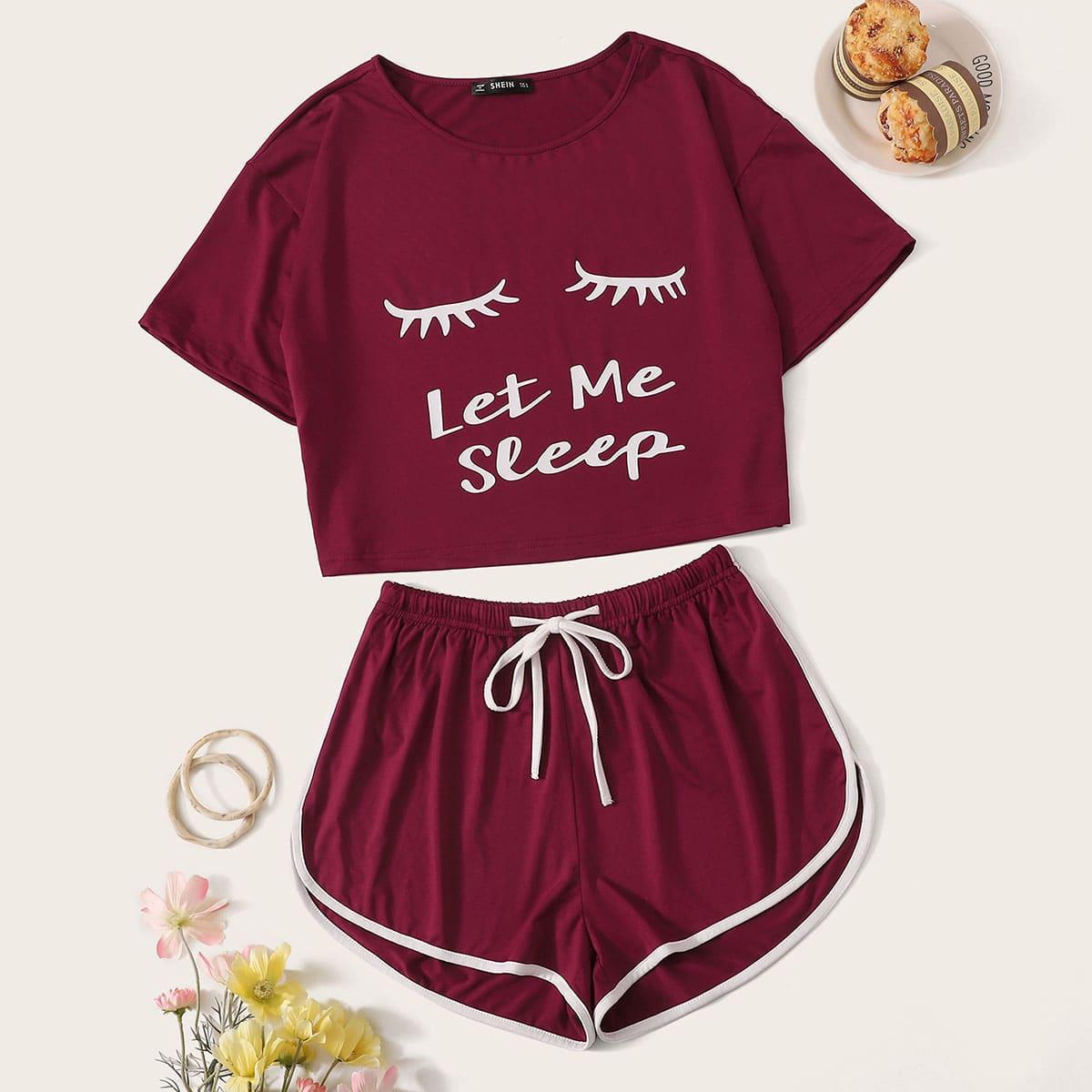 Пижама с графическим принтом на кулиске