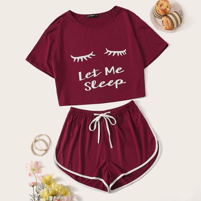 Graphic Print Top & Drawstring Waist Dolphin Shorts PJ Set, Burgundy