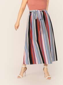 Plus Colorful Striped Self Belted Skirt
