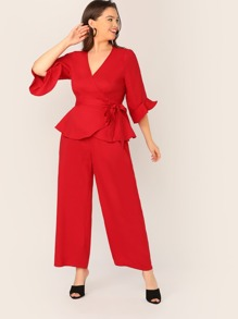 Plus Wrap Belted Top & Wide Leg Pants Set