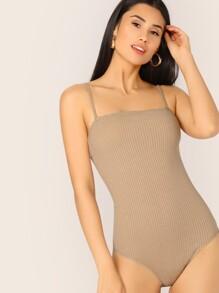 Rib-knit Cami Fitted Bodysuit