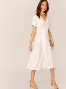 Surplice Neck Self Tie Back Dress