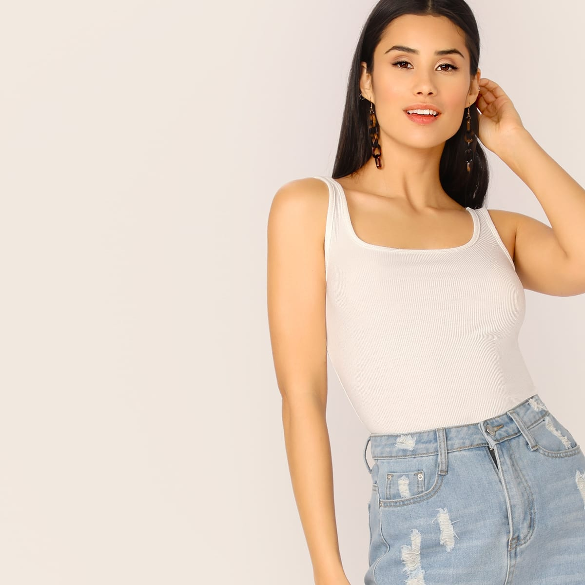 SHEIN coupon: Scoop Neck Solid Skinny Tank Top