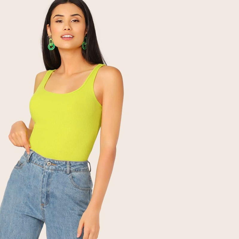 Neon Lime Rib-knit Tank Top, Green bright
