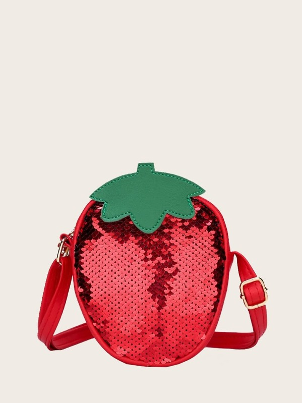S Strawberry Design Sequins Decor Bag