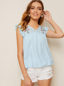 Eyelet Embroidery Smock Blouse