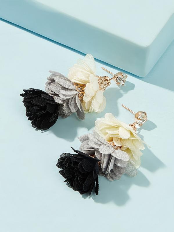 Tiered Layer Flower Design Drop Earrings 1pair