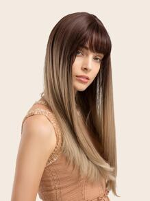 Natural Long Straight Ombre Wig With Bangs