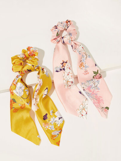 Floral Pattern Scrunchie Scarf 2pcs