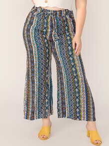 Plus Drawstring Waist Aztec Print Pants