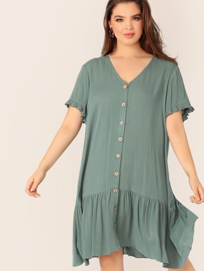 Plus Ruffle Cuff Button Front Flippy Hem Dress