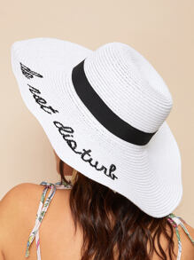 Slogan Embroidery Straw Hat