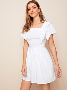 Ruffle Trim Square Neck Fit & Flrae Dress