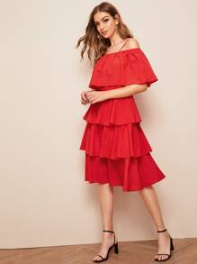 Layered Ruffle Hem Cold Shoulder Solid Midi Dress