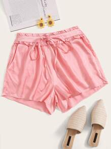 Solid Tie Front Satin Paperbag Shorts