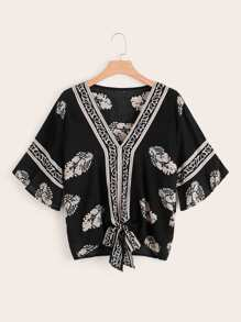 Plus Tribal Print Knot Hem Blouse