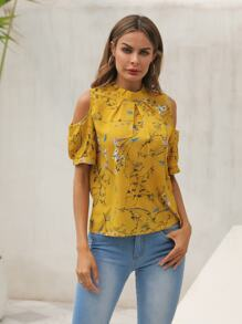 Floral Print Cold-shoulder Blouse